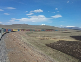 Longest freight train on Baku-Tbilisi-Kars railway departs from Turkiye en route to Central Asia